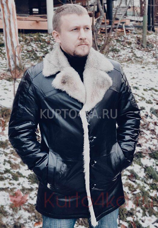 Купить со скидкой мужскую кожаную куртку с отделкой из меха волка и ... b6166bd2649